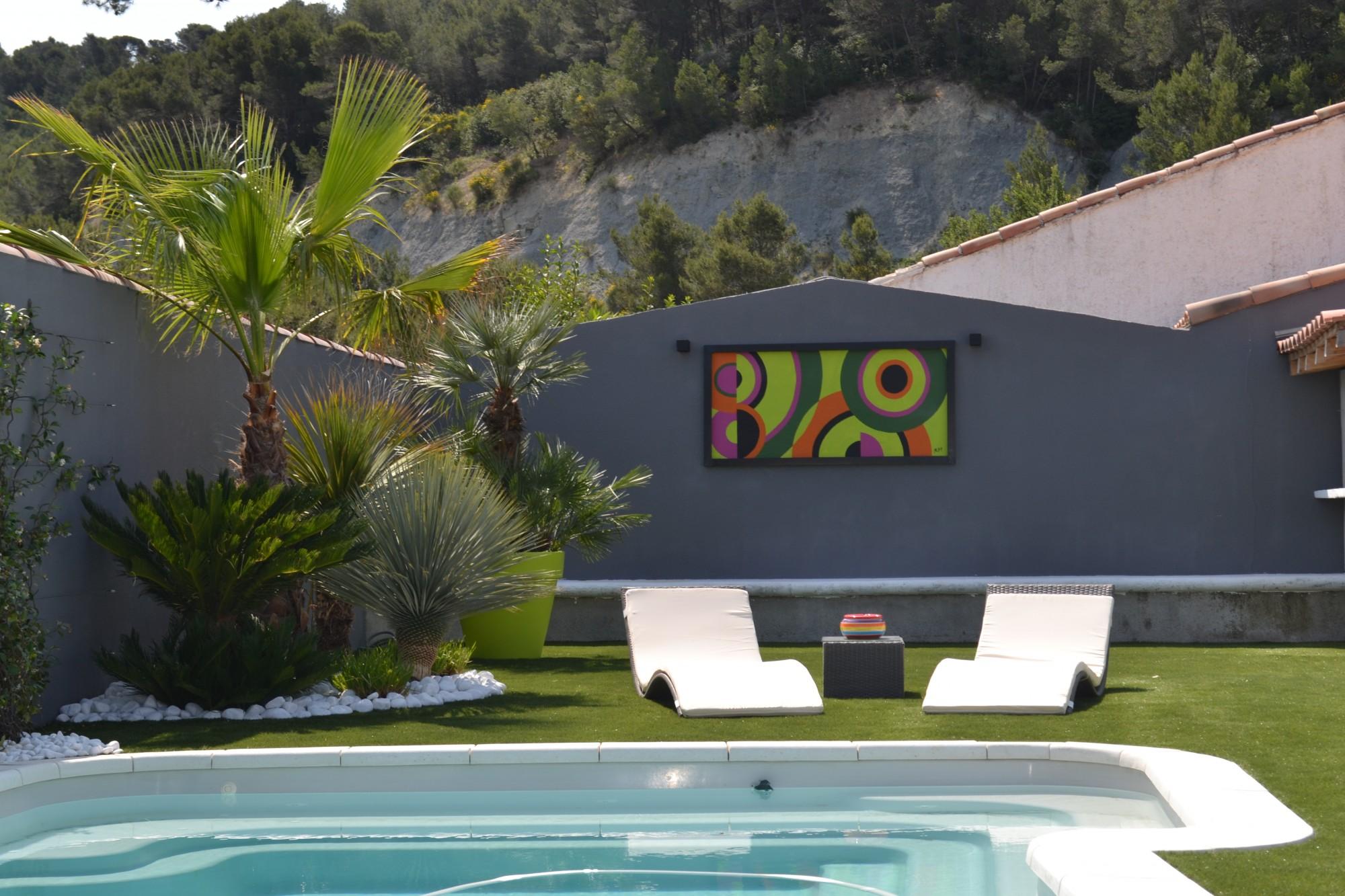 Extrêmement Aménagement d'une piscine et d'un jardin contemporain à Roquefort  VD18