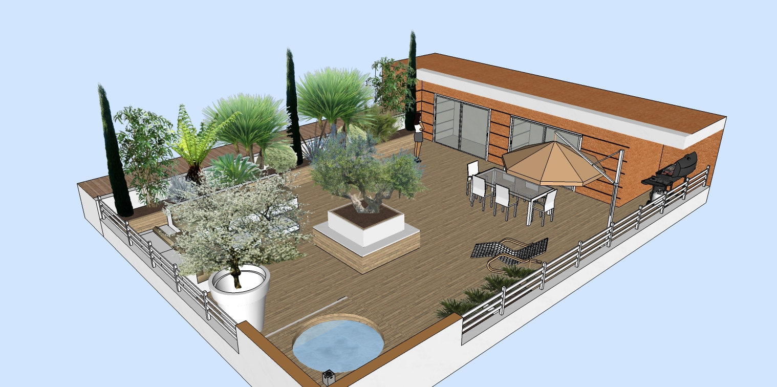 Création De Jardinières En Bois Sur Un Toit Terrasse Vert Tige